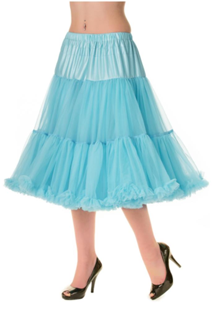 """50s Vintage Rock n Roll Rockabilly Petticoat Skirt 26"""" Blue"""