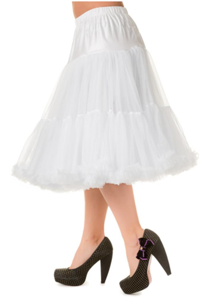 """50s Vintage Rock n Roll Rockabilly Petticoat Skirt 26"""" White"""