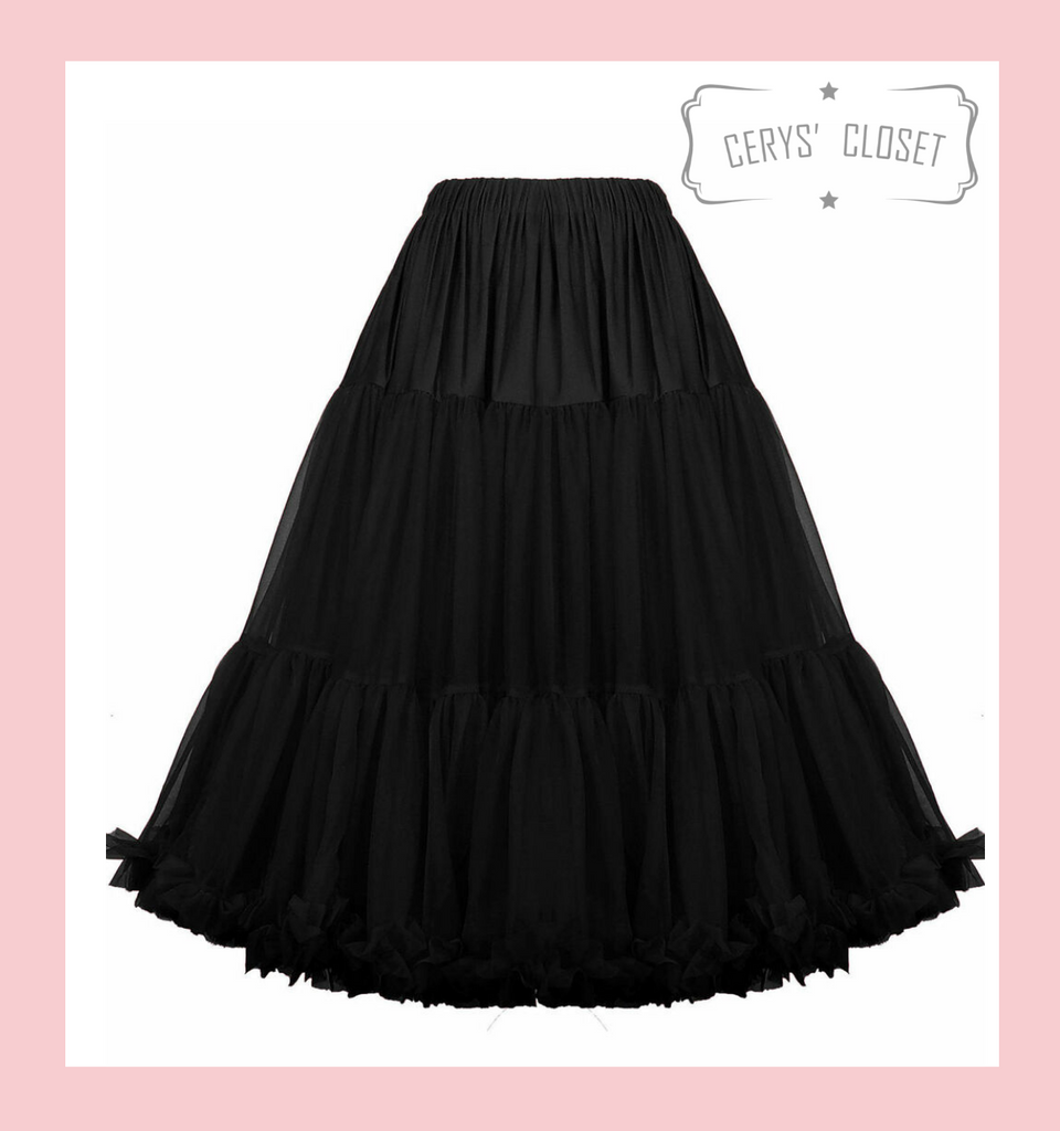 """50s Vintage Supersoft Rock n Roll Rockabilly Petticoat Skirt 26"""" With Petticoat Bag Black"""