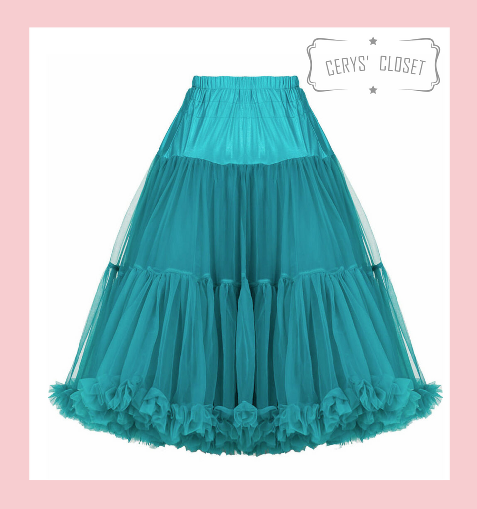"""50s Vintage Supersoft Rock n Roll Rockabilly Petticoat Skirt 26"""" With Petticoat Bag Teal"""