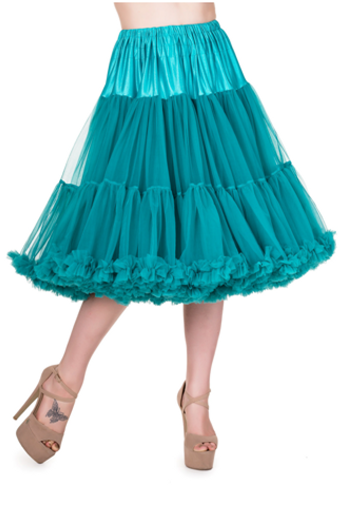 "50s Vintage Rock n Roll Rockabilly Petticoat Skirt 26"" Teal"