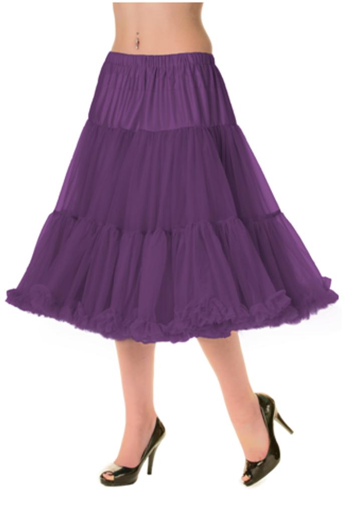 "50s Vintage Rock n Roll Rockabilly Petticoat Skirt 26"" Aubergine"