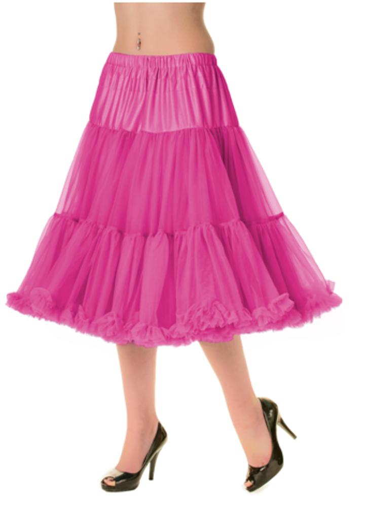 "50s Vintage Rock n Roll Rockabilly Petticoat Skirt 26"" Hot Pink"