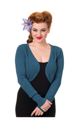 50s Vintage Inspired Long Sleeve Soft Touch Bolero - Petrol Blue