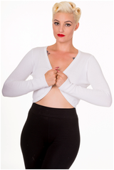 50s Vintage Inspired Long Sleeve Soft Touch Bolero - White