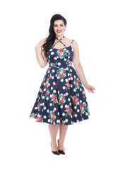 Navy and white polka with floral faux halter swing dress by Hearts and Roses