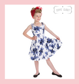 BLUE AND WHITE FLORAL 50S VINTAGE INSPIRED CHILDRENS SLEEVELESS SWING DRESS WITH SWEETHEART NECKLINE - ROSECAE