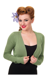 50s Vintage Inspired Long Sleeve Soft Touch Bolero - Mint