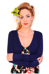 50s Vintage Inspired Long Sleeve Soft Touch Bolero - Navy