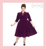 Hearts and Roses London Velvet 3/4 Sleeve 50s Vintage Inspired Tea Dress with Cute Collar and Pockets - Purple