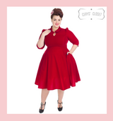 Hearts and Roses London Velvet 3/4 Sleeve 50s Vintage Inspired Tea Dress with Cute Collar and Pockets - Red