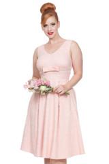 SALE 1950s Vintage Style Lace Effect Occasion Dress - Peach