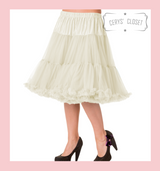 """50s Vintage Supersoft Rock n Roll Rockabilly Petticoat Skirt 26"""" With Petticoat Bag Ivory"""