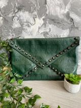 Skull Embossed and Studded Envelope Clutch Bag - Green