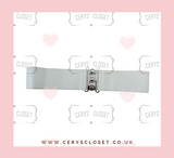 50S VINTAGE INSPIRED ELASTICATED WASPIE BELT WHITE BANNED APPAREL AT CERYS' CLOSET