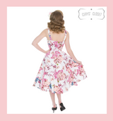 Pink Peach and White Floral 50s Vintage Inspired Sleeveless Swing Dress