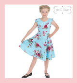 BLUE AND PINK FLORAL 50S INSPIRED CHILDRENS SWING DRESS WITH CAP SLEEVES AND SWEETHEART NECKLINE - DARCEY