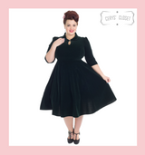 Velvet 3/4 Sleeve 50s Vintage Inspired Tea Dress with Cute Collar and Pockets - Green