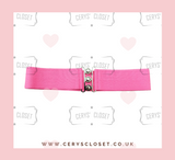 50S VINTAGE INSPIRED ELASTICATED WASPIE BELT HOT PINK BANNED APPAREL AT CERYS' CLOSET