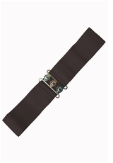 50S VINTAGE INSPIRED ELASTICATED WASPIE BELT Brown BANNED APPAREL AT CERYS' CLOSET