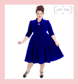 Hearts and Roses London Velvet 3/4 Sleeve 50s Vintage Inspired Tea Dress with Cute Collar and Pockets - Blue