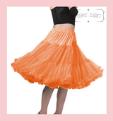 "50s Vintage Supersoft Rock n Roll Rockabilly Petticoat Skirt 26"" With Petticoat Bag Orange"