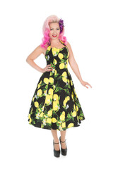 SALE - 1950s Vintage Rockabilly Style Black and Lemon Halter Neck Dress