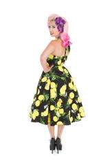 SALE - 1950s Vintage Rockabilly Style Black and Lemon Halter Neck Dress