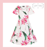 Hearts and Roses London White 50s Vintage Inspired Dress with Large Pink Floral Blooms and Green Leaves - Andromeda at Cerys' Closet