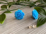 Handmade By Sue Resin Rose Earrings with Stainless Steel Post Studs - Blue