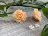 Handmade By Sue Resin Rose Earrings with Stainless Steel Post Studs - Peach