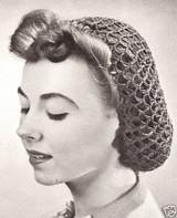 1940s Crochet Hair Snood Hair Net - Black