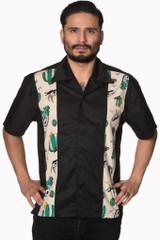 SALE Mens Short Sleeve Black Shirt with Cactus Print