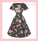Hearts and Roses London Grey and Pink Floral 50s Vintage Inspired Dress With Flutter Sleeves- Anya at Cerys' Closet