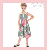 Hearts and Roses London GREEN AND PINK FLORAL CHILDRENS 50S VINTAGE INSPIRED SWING DRESS - ALISHA at Cerys' Closet