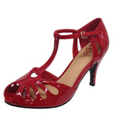 Dancing Days Secret Love 1940s Retro Heart Peep Toes Sandals - Red