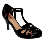 Secret Love 40s 50s Vintage Inspired Patent Peep Toes Sandals - Black