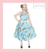 Hearts and Roses London Pale Blue and Floral 50s Inspired Swing Style Dress with Cut Out Over Chest- Natalia at Cerys' Closet