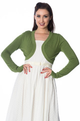 50s Vintage Inspired Long Sleeve Soft Touch Bolero - Apple Green