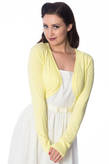 50s Vintage Inspired Long Sleeve Soft Touch Bolero - Lemon
