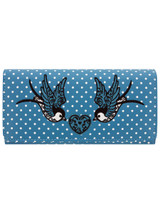Now or Never Swollow and Polka Dot Purse - Blue