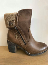 Refresh Brown High Heel Ankle Boots With Faux Zip and Wool Lining