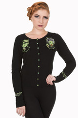 Black Scoop Neck Cardigan With Embroidered Frankenstein and Bride Embellishments