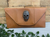 Flapover Clutch Bag with Skull Detail - Brown