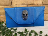 Flapover Clutch Bag with Skull Detail - Blue