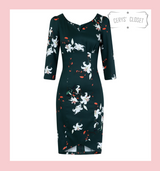 Hearts and roses London Dress Dark Green Vintage 50s Vintage Style Wiggle Dress with Lilies and Orange Blossoms - Lilian at Cerys' Closet