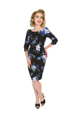 Vintage Style Blue Rose Wiggle Dress - Gina