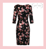 Hearts and Roses London Black, Rose gold and Metallic Floral  50s Vintage Inspired Wiggle Dress at Cerys' Closet