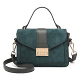 Suede Effect Midi Handbag - Green