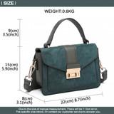 Suede Effect Midi Handbag - Green